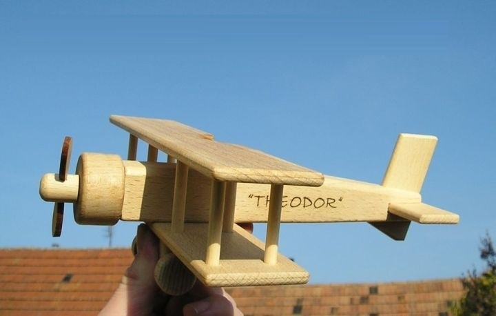 Burned name on wooden toy - biplane
