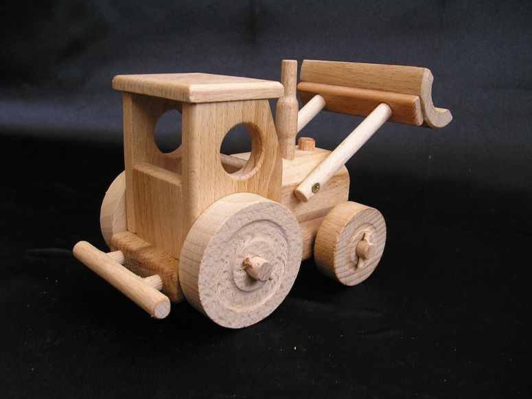 Wooden Tractor Plans : Tractor with blade truck movable wooden toys
