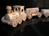 Children  wooden freight train with two wagons