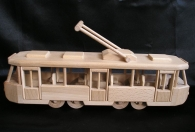 Modern tramway wooden toy - mobile.