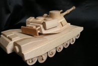 US wooden toy millitary tank ABRAMS