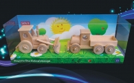 Tractor with blade + truck, movable wooden toys