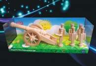 Big field cannon + 6x soldiers wooden toys