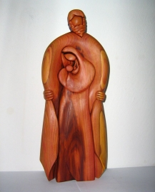 Family - God, Holy Mary and Jesus, wooden statue