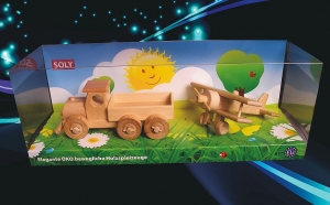 Truck and small biplane wooden toys