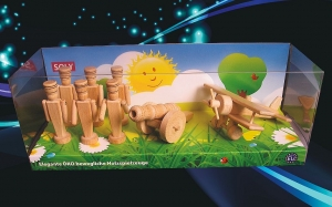 Soldies 6pc + cannon and biplane, wooden toys