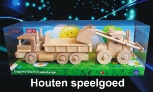 Vrachtwagen + Bulldozer houten speelgoed
