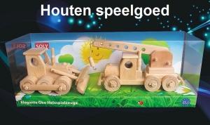 Bulldozer + mobile kraan, houten speelgoed