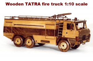 Wooden TATRA fire truck 1:10 scale
