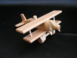 Kleinflugzeug Doppeldecker, Holzspielzeug