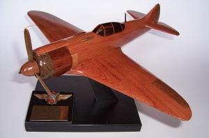 Airplane model Lavochkin La-5 from wood.  Soviet fighter aircrafts WW II.