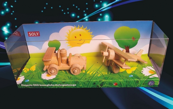 Small car and small biplane wooden toys