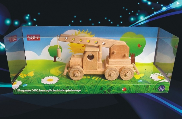 Mobile crane with moving arm, wooden toy
