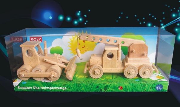 Bulldozer + Auto-crane, wooden toys.