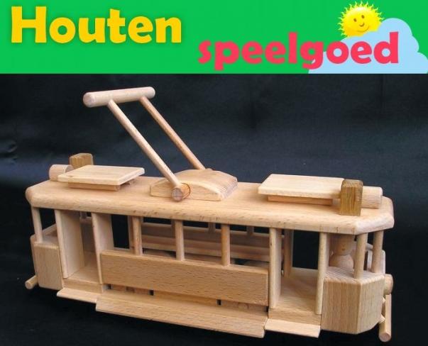 De Tram TATRA  - houten rollen speelgoed
