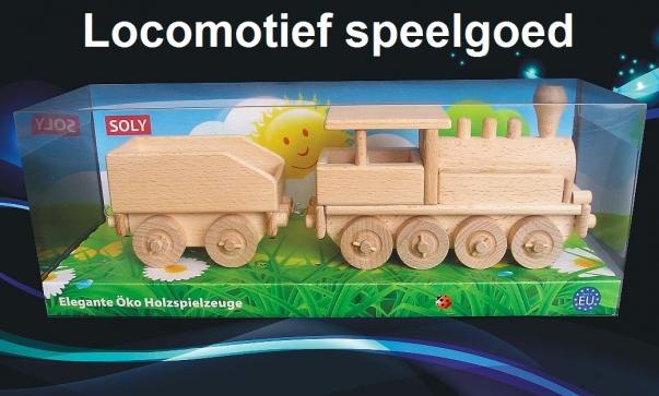 Houten locomotief met een kolen