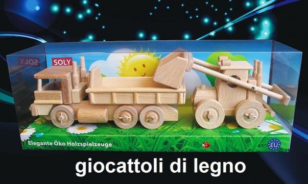 Camion + escavatore, giocattolo di legno