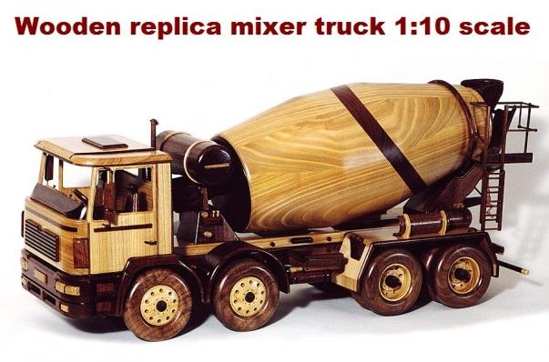 Concrete mixer truck MAN, wooden replica 1:12