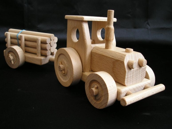 Wald-traktor mit anhanger, Spielzeug Holz
