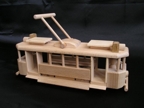 Historical wooden tramway toys