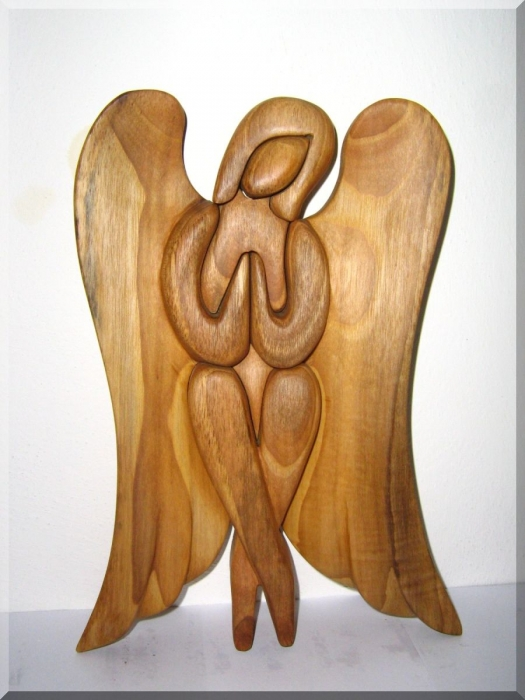 Angel Sitting Wood Sculpture Carving Wooden Gifts Soly