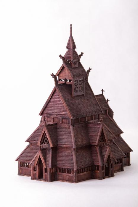 Norwegian stave church wooden model