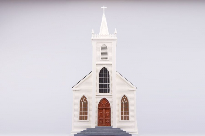 Wooden model of church Saint Teresa of Avila, Bodega, California, USA