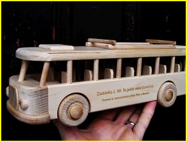 Bus wooden toys with a name