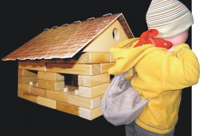 Stavebnice pro děti. Domeček z kostek.