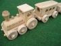 Children train wooden toys